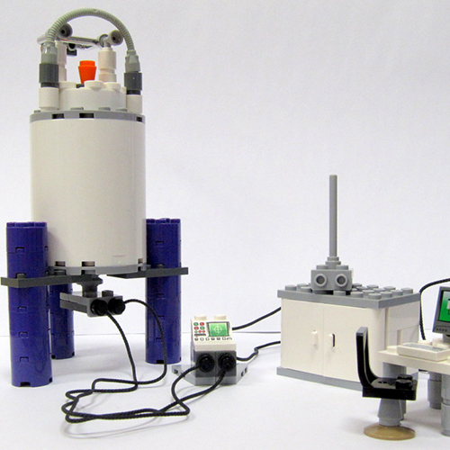 instrumentation icon, NMR spectrometer made from legos